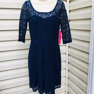 NWT Betsy Johnson Navy lace dress